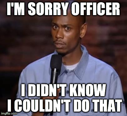 Im Sorry Officer I didn't know i couldn't do that